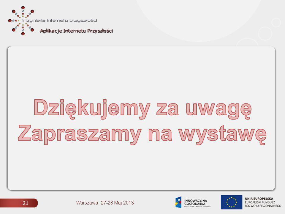 Aplikacje Internetu Przyszłości 21 Warszawa, 27-28 Maj 2013