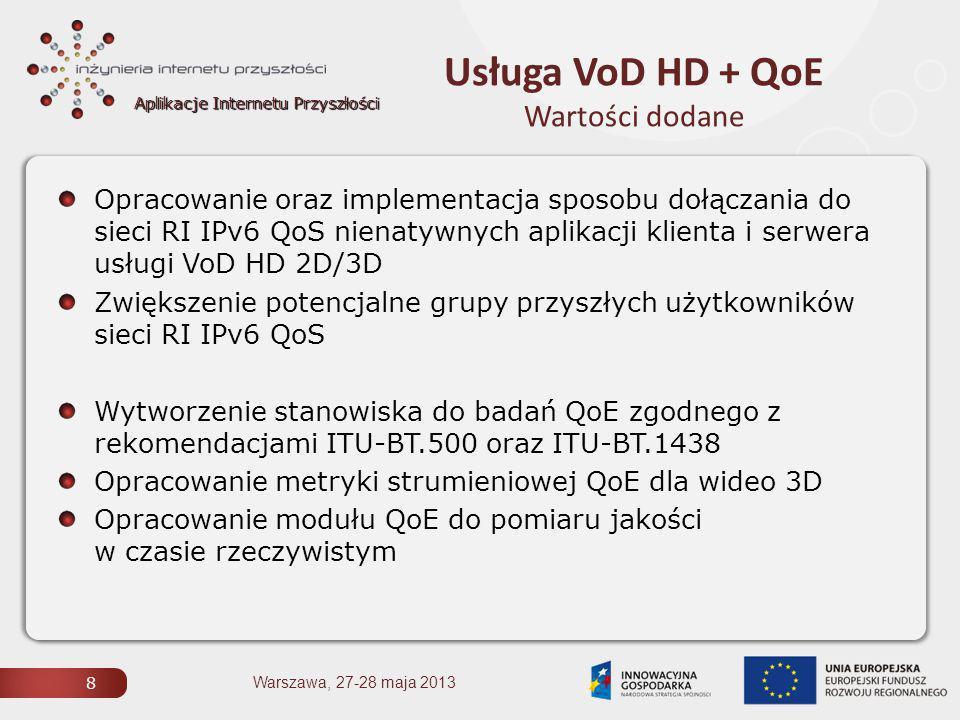 Aplikacje Internetu Przyszłości Usługa VoD HD + QoE Wartości dodane 8 Opracowanie oraz implementacja sposobu dołączania do sieci RI IPv6 QoS nienatywnych aplikacji klienta i serwera usługi VoD HD 2D/3D Zwiększenie potencjalne grupy przyszłych użytkowników sieci RI IPv6 QoS Wytworzenie stanowiska do badań QoE zgodnego z rekomendacjami ITU-BT.500 oraz ITU-BT.1438 Opracowanie metryki strumieniowej QoE dla wideo 3D Opracowanie modułu QoE do pomiaru jakości w czasie rzeczywistym Warszawa, 27-28 maja 2013
