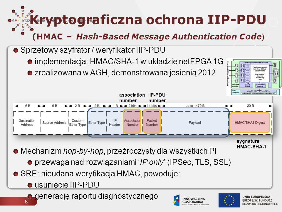 Wykrywanie lokalnych anomalii (LAD – local anomaly detection) węzeł IIP EX32 00 KRK EX32 00 WRO XEN CA N eth3 eth1 PL-LAB XEN CA N eth1 peth0 PI CAN ge-0/0/7 Infrastruktura transmisyjna forging HMA C mac0 mac2 mac2 mac0 nf2c3 Kod przyczyny 64 B IIP-PDU ruffling LO ::1 54320 IPv6 MIB /NetSNMP - statystyki SNMP / SSH LAD SRE 7 Obsługa raportów diagnostycznych i wykrywanie ataków nieblokowanych przez HMAC