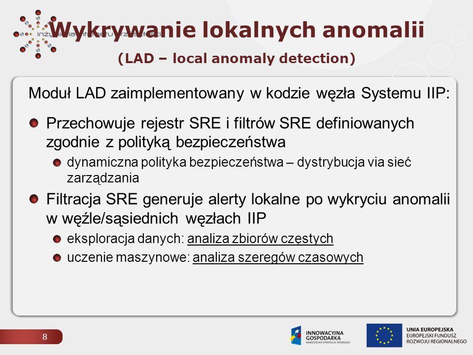 9 LAD: Metoda zbiorów częstych analizuje się krotki atrybutów SRE w logu SRE w zbiorze krotek wyszukuje się zbiory częste podkrotek = powtarzające się wzorce zachowań alerty generowane przez: niepoprawny format IIP-PDU (nieudana weryfikacja HMAC – próby injection, reseq / replay) zbiór częsty  niebezpieczna semantyka IIP-PDU (próby forging, skanowania, przejęcia węzła via SSH, SNMP) miara zagrożenia związanego z wykrytą anomalią