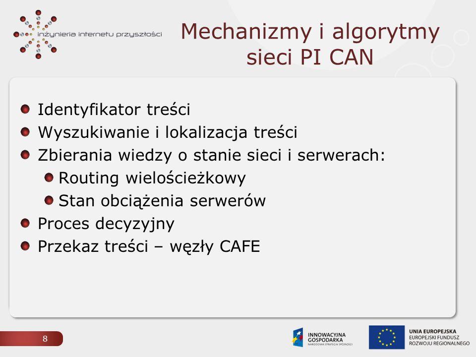 Mechanizmy i algorytmy sieci PI CAN Identyfikator treści Wyszukiwanie i lokalizacja treści Zbierania wiedzy o stanie sieci i serwerach: Routing wielościeżkowy Stan obciążenia serwerów Proces decyzyjny Przekaz treści – węzły CAFE 8
