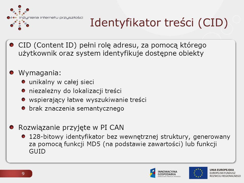 Identyfikator treści (CID) 9 CID (Content ID) pełni rolę adresu, za pomocą którego użytkownik oraz system identyfikuje dostępne obiekty Wymagania: unikalny w całej sieci niezależny do lokalizacji treści wspierający łatwe wyszukiwanie treści brak znaczenia semantycznego Rozwiązanie przyjęte w PI CAN 128-bitowy identyfikator bez wewnętrznej struktury, generowany za pomocą funkcji MD5 (na podstawie zawartości) lub funkcji GUID