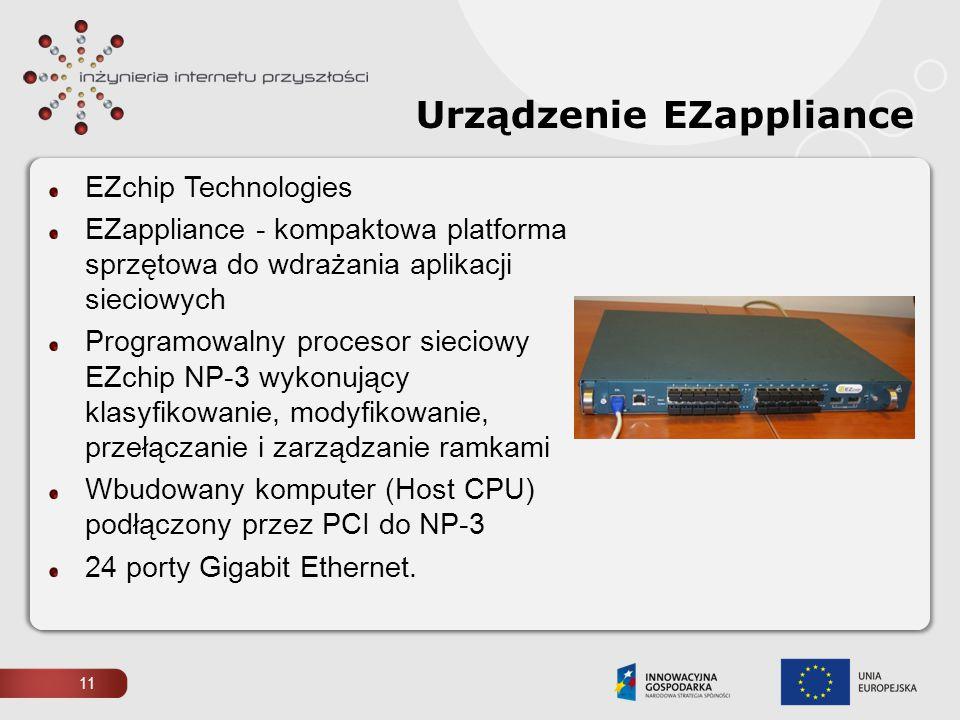 Urządzenie EZappliance EZchip Technologies EZappliance - kompaktowa platforma sprzętowa do wdrażania aplikacji sieciowych Programowalny procesor sieci