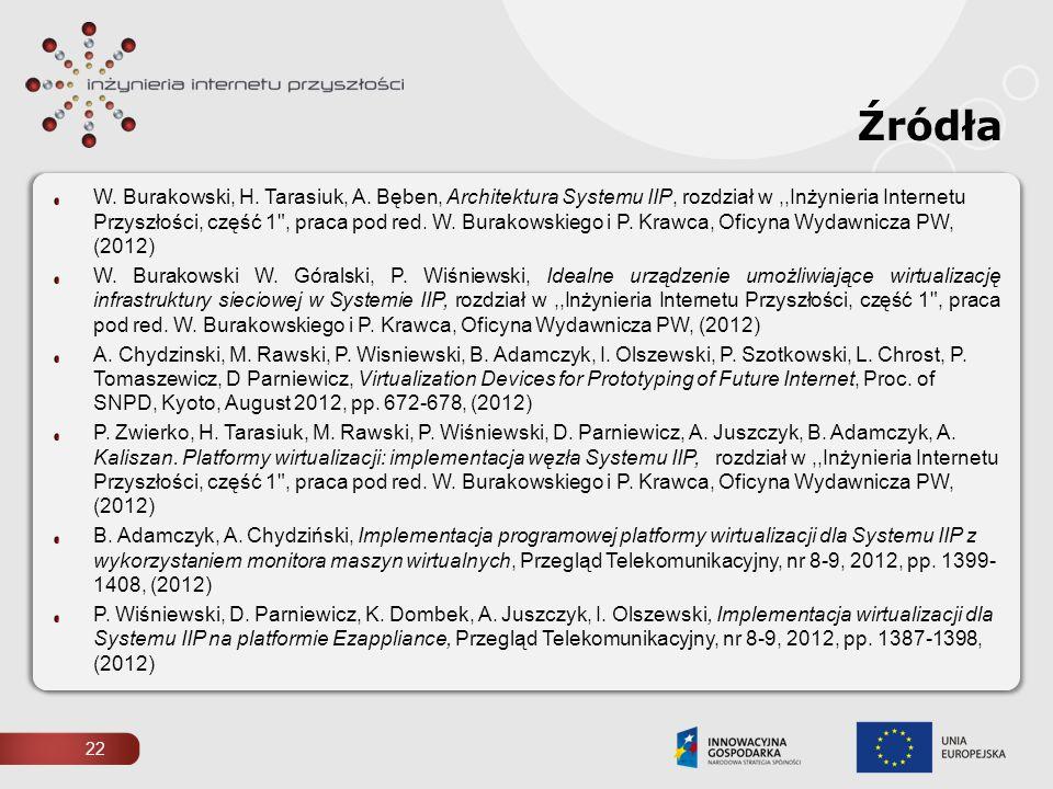 22 Źródła W. Burakowski, H. Tarasiuk, A. Bęben, Architektura Systemu IIP, rozdział w,,Inżynieria Internetu Przyszłości, część 1
