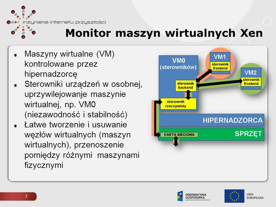 7 Monitor maszyn wirtualnych Xen Maszyny wirtualne (VM) kontrolowane przez hipernadzorcę Sterowniki urządzeń w osobnej, uprzywilejowanje maszynie wirt