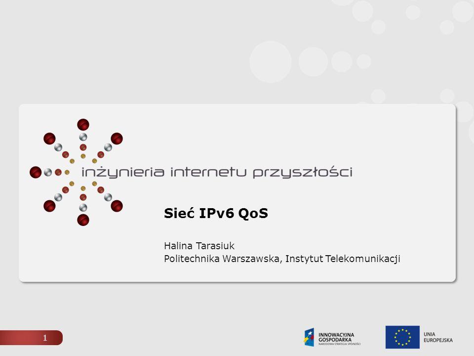 Sieć IPv6 QoS Halina Tarasiuk Politechnika Warszawska, Instytut Telekomunikacji 1