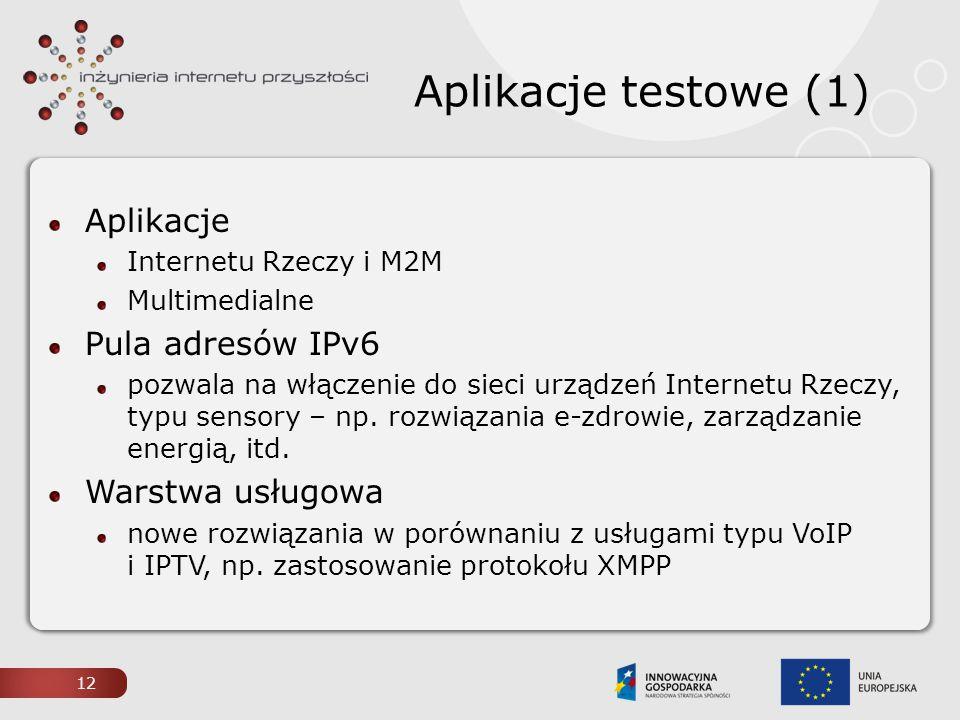 Aplikacje testowe (1) Aplikacje Internetu Rzeczy i M2M Multimedialne Pula adresów IPv6 pozwala na włączenie do sieci urządzeń Internetu Rzeczy, typu s