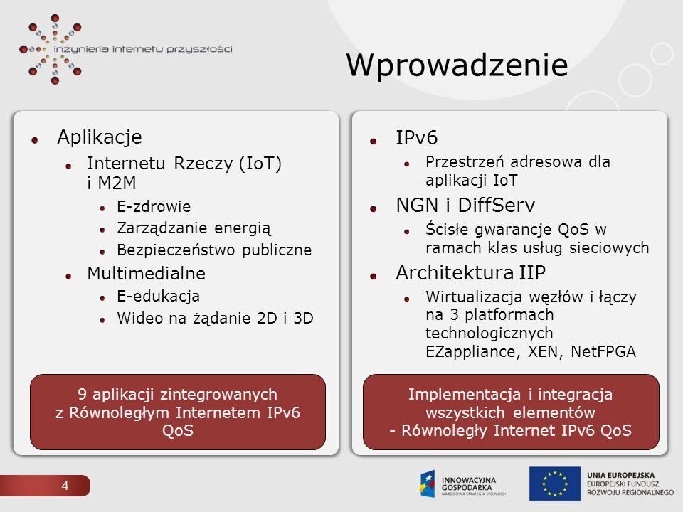 Wprowadzenie Aplikacje Internetu Rzeczy (IoT) i M2M E-zdrowie Zarządzanie energią Bezpieczeństwo publiczne Multimedialne E-edukacja Wideo na żądanie 2