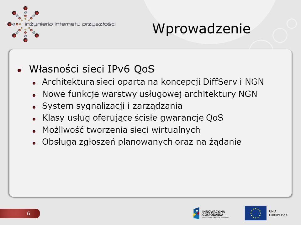 Wprowadzenie Własności sieci IPv6 QoS Architektura sieci oparta na koncepcji DiffServ i NGN Nowe funkcje warstwy usługowej architektury NGN System syg