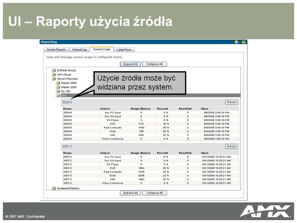 © 2007 AMX Confidential UI – Raporty użycia źródła Użycie źródła może być widziana przez system.