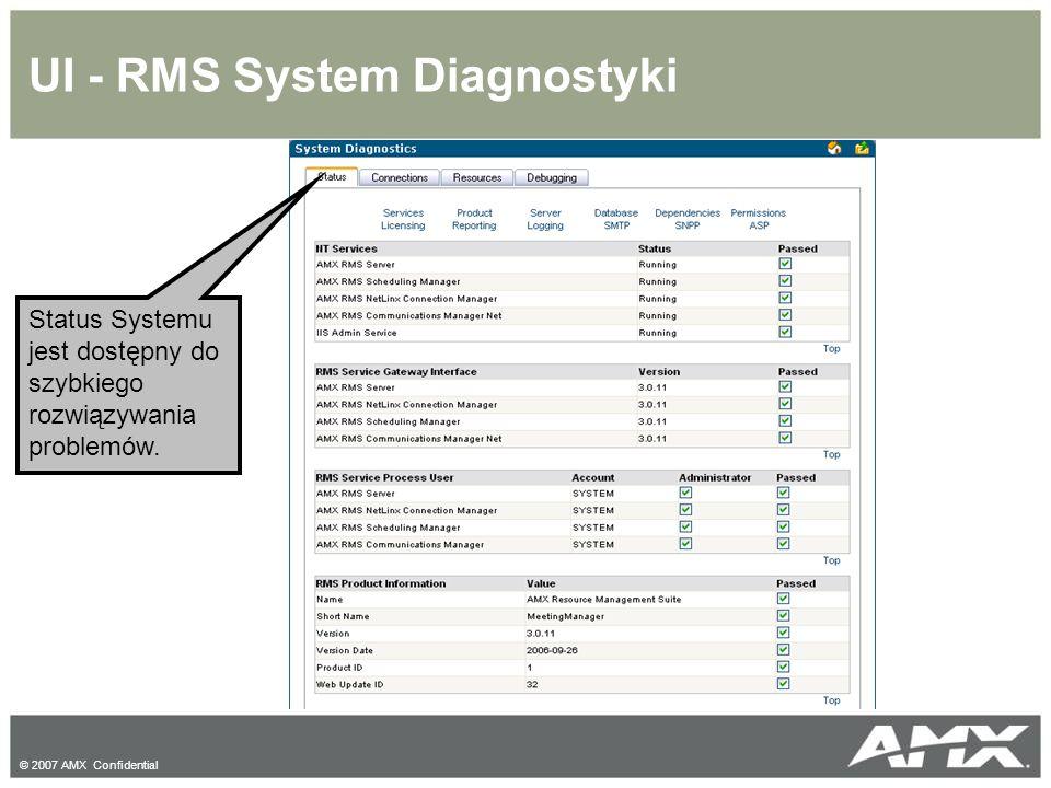 © 2007 AMX Confidential UI - RMS System Diagnostyki Status Systemu jest dostępny do szybkiego rozwiązywania problemów.