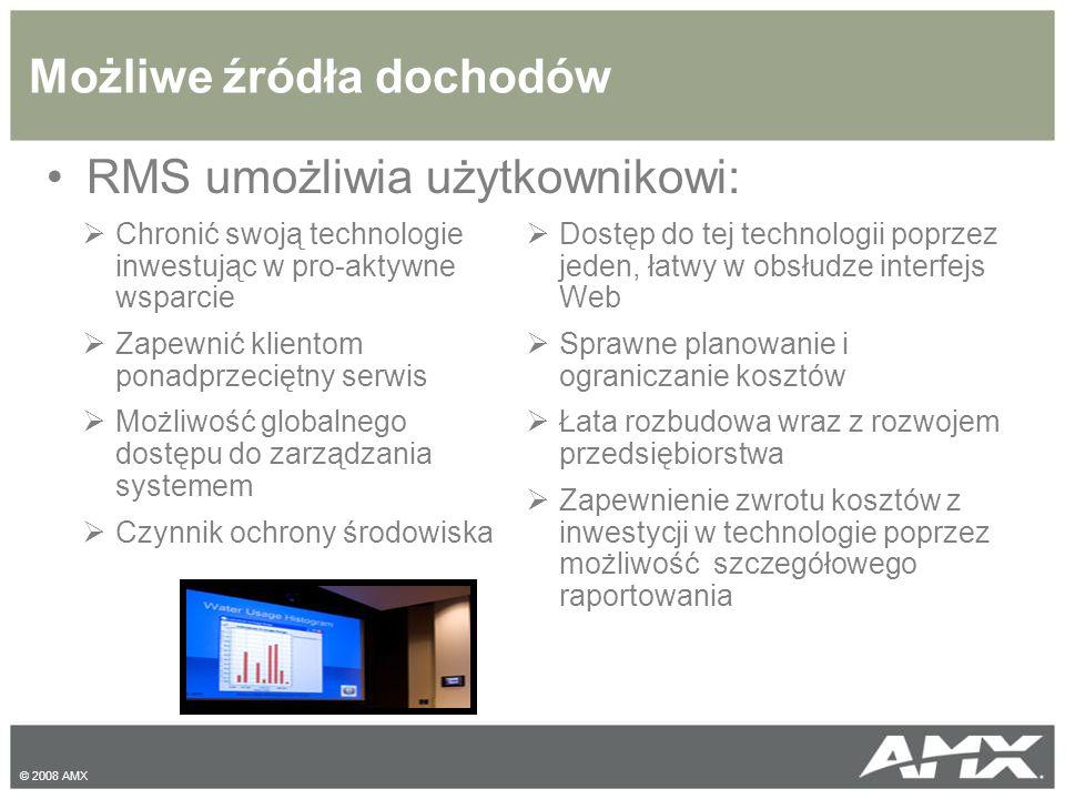 © 2008 AMX RMS umożliwia użytkownikowi: Możliwe źródła dochodów  Chronić swoją technologie inwestując w pro-aktywne wsparcie  Zapewnić klientom ponadprzeciętny serwis  Możliwość globalnego dostępu do zarządzania systemem  Czynnik ochrony środowiska  Dostęp do tej technologii poprzez jeden, łatwy w obsłudze interfejs Web  Sprawne planowanie i ograniczanie kosztów  Łata rozbudowa wraz z rozwojem przedsiębiorstwa  Zapewnienie zwrotu kosztów z inwestycji w technologie poprzez możliwość szczegółowego raportowania