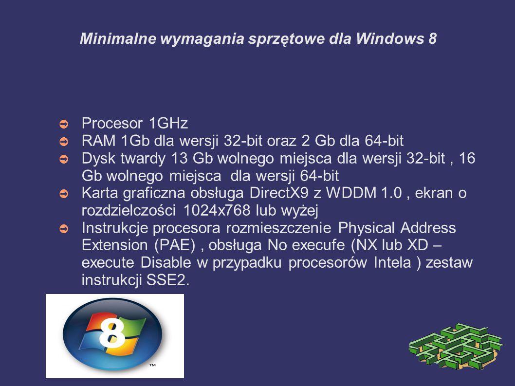 Zalecane wymagania sprzętowe pod Windows 8 ➲ Procesor INTEL CORE 2 DUO 2.00 GHz/ ATHLON 64 X2 dla 32/64 bit ➲ RAM : 1GB dla wersji 32-bit 2 Gb dla 64-bit ➲ Dysk twardy 16GB wolnego miejsca dla 32 20 GB wolnego miejsca dla 64 ➲ Karta graficzna obsługa DirectX 11 z WDDM, ekran o rozdzielczości 1366x768 lub wyższej do obsługi podziału ekranu przy korzystaniu z programów środowiska Modem Ul.