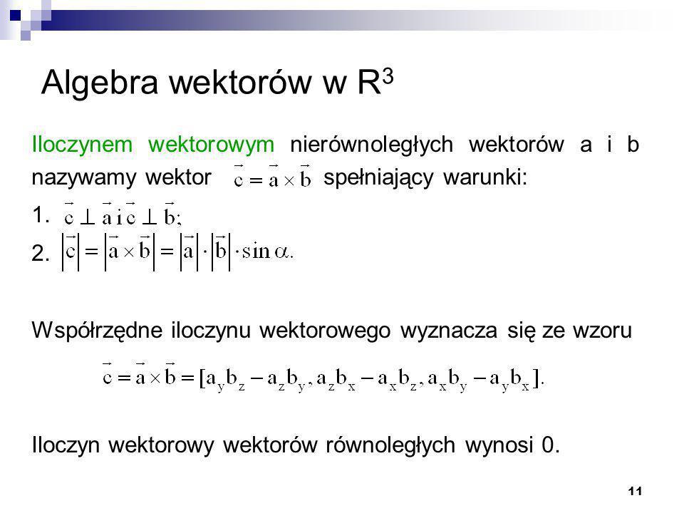 11 Algebra wektorów w R 3 Iloczynem wektorowym nierównoległych wektorów a i b nazywamy wektor spełniający warunki: 1.