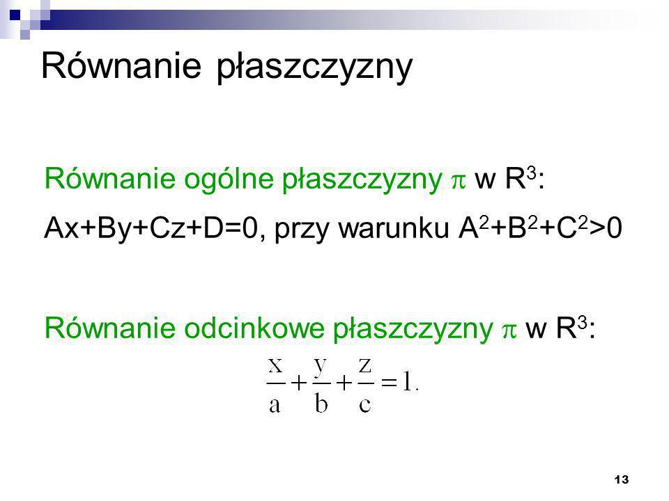 13 Równanie płaszczyzny Równanie ogólne płaszczyzny  w R 3 : Ax+By+Cz+D=0, przy warunku A 2 +B 2 +C 2 >0 Równanie odcinkowe płaszczyzny  w R 3 :