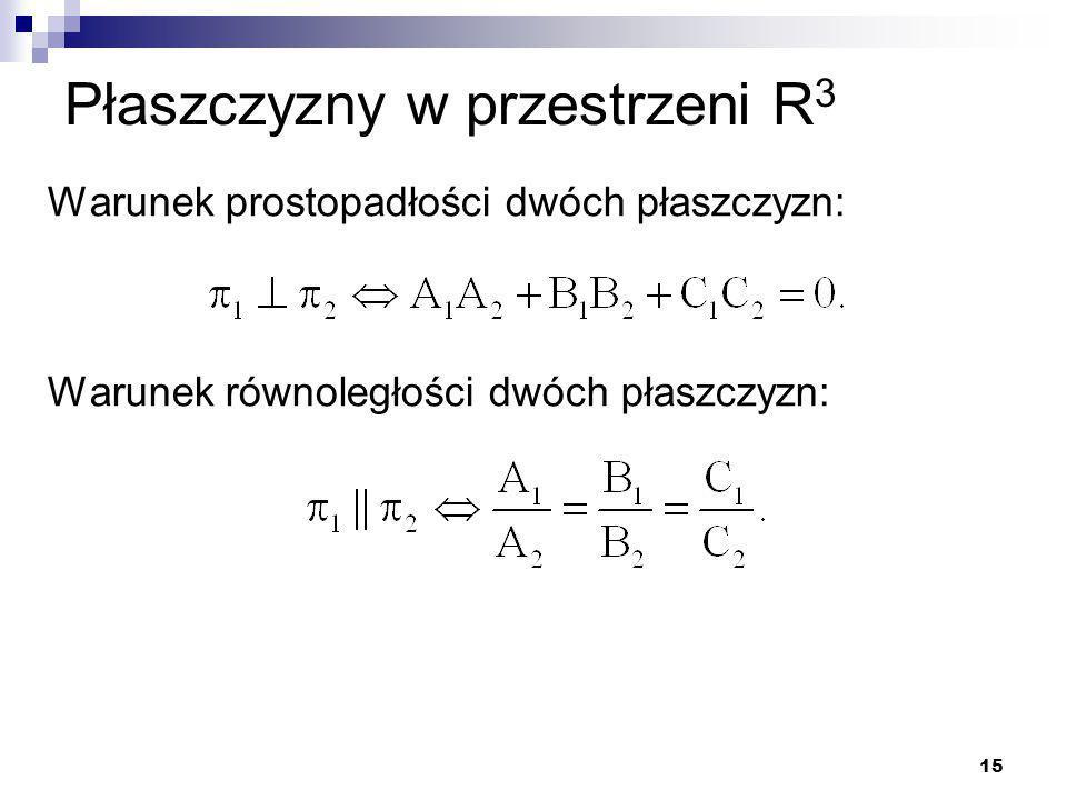 15 Płaszczyzny w przestrzeni R 3 Warunek prostopadłości dwóch płaszczyzn: Warunek równoległości dwóch płaszczyzn: