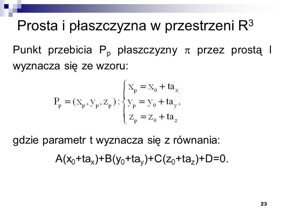 23 Prosta i płaszczyzna w przestrzeni R 3 Punkt przebicia P p płaszczyzny  przez prostą l wyznacza się ze wzoru: gdzie parametr t wyznacza się z równania: A(x 0 +ta x )+B(y 0 +ta y )+C(z 0 +ta z )+D=0.