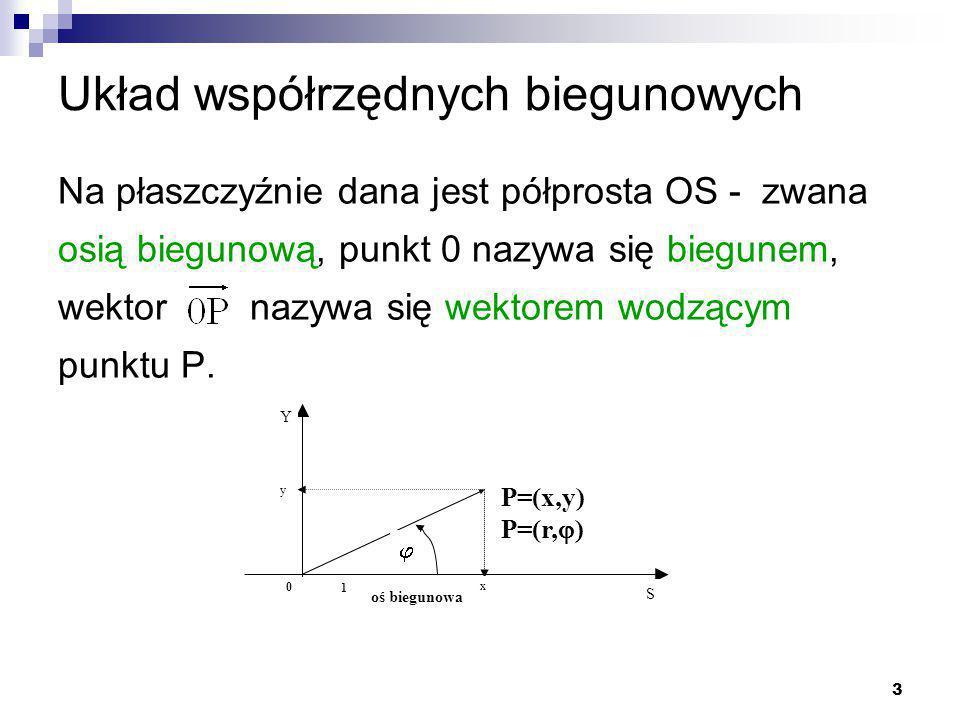 3 Układ współrzędnych biegunowych Na płaszczyźnie dana jest półprosta OS - zwana osią biegunową, punkt 0 nazywa się biegunem, wektor nazywa się wektorem wodzącym punktu P.