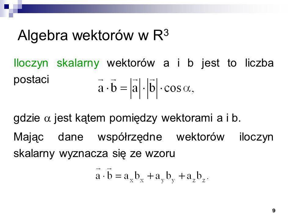 9 Algebra wektorów w R 3 Iloczyn skalarny wektorów a i b jest to liczba postaci gdzie  jest kątem pomiędzy wektorami a i b.