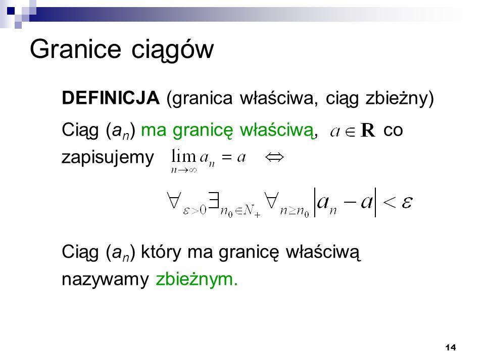 14 Granice ciągów DEFINICJA (granica właściwa, ciąg zbieżny) Ciąg (a n ) ma granicę właściwą, co zapisujemy Ciąg (a n ) który ma granicę właściwą nazy