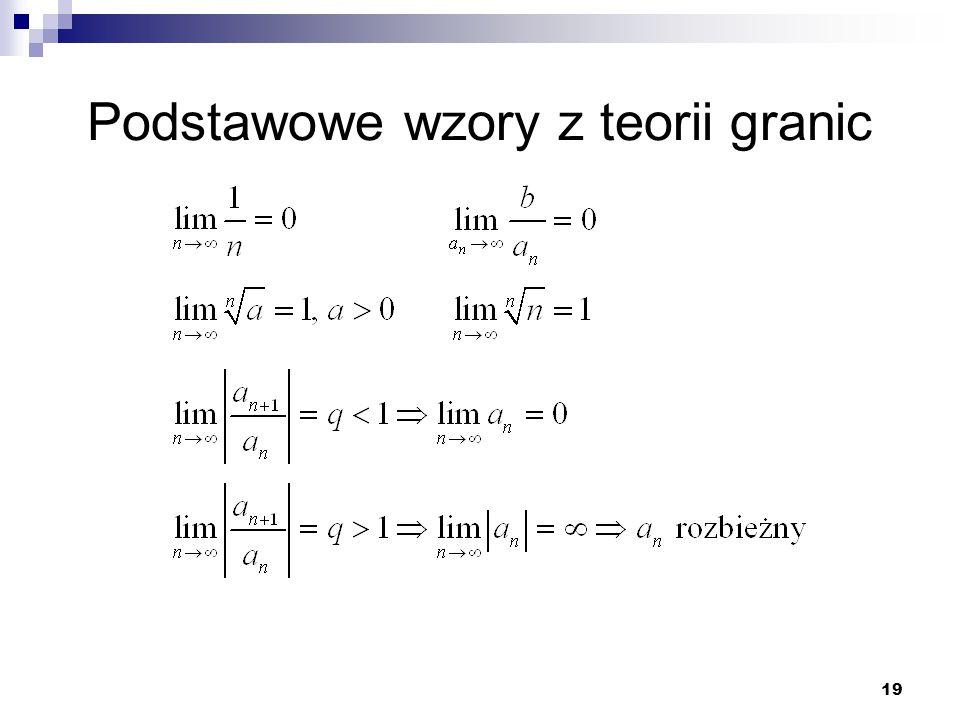 19 Podstawowe wzory z teorii granic