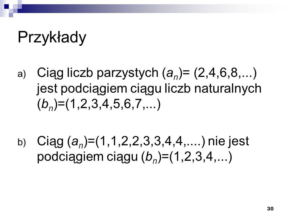 30 Przykłady a) Ciąg liczb parzystych (a n )= (2,4,6,8,...) jest podciągiem ciągu liczb naturalnych (b n )=(1,2,3,4,5,6,7,...) b) Ciąg (a n )=(1,1,2,2