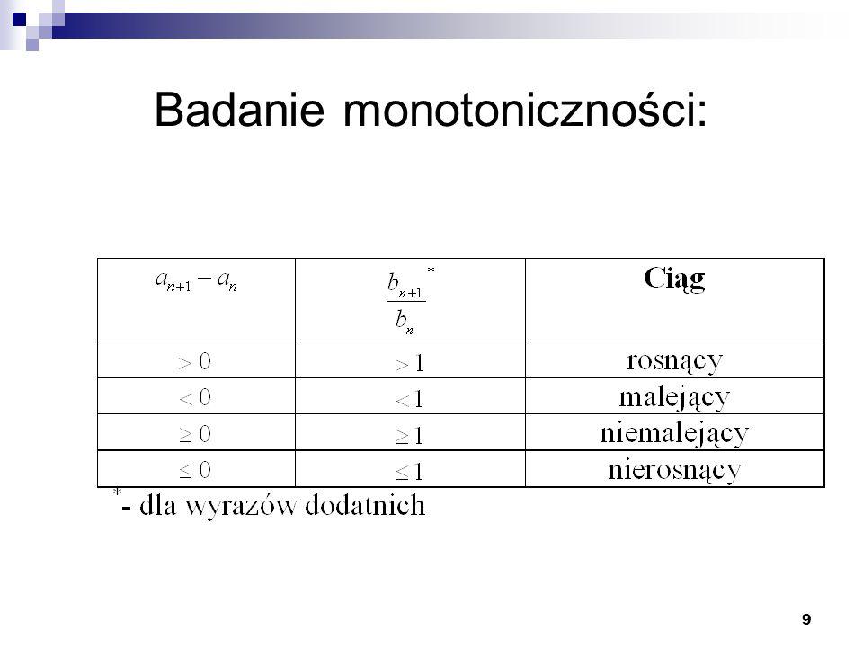 10 Przykład Zbadać, czy podane ciągi są monotoniczne od pewnego miejsca: