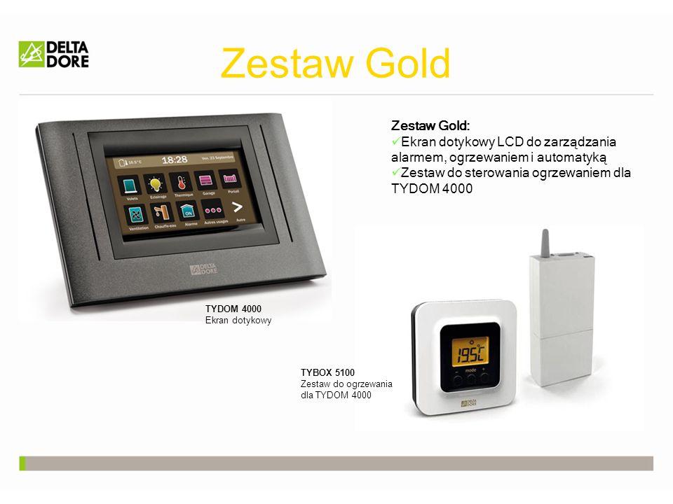 Zestaw Gold Zestaw Gold: Ekran dotykowy LCD do zarządzania alarmem, ogrzewaniem i automatyką Zestaw do sterowania ogrzewaniem dla TYDOM 4000 TYDOM 4000 Ekran dotykowy TYBOX 5100 Zestaw do ogrzewania dla TYDOM 4000
