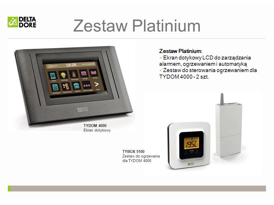 Zestaw Platinium Zestaw Platinium: Ekran dotykowy LCD do zarządzania alarmem, ogrzewaniem i automatyką Zestaw do sterowania ogrzewaniem dla TYDOM 4000