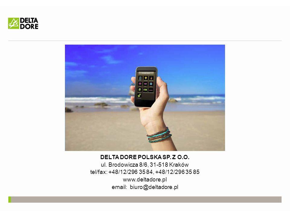 DELTA DORE POLSKA SP. Z O.O. ul. Brodowicza 8/6, 31-518 Kraków tel/fax: +48/12/296 35 84, +48/12/296 35 85 www.deltadore.pl email: biuro@deltadore.pl