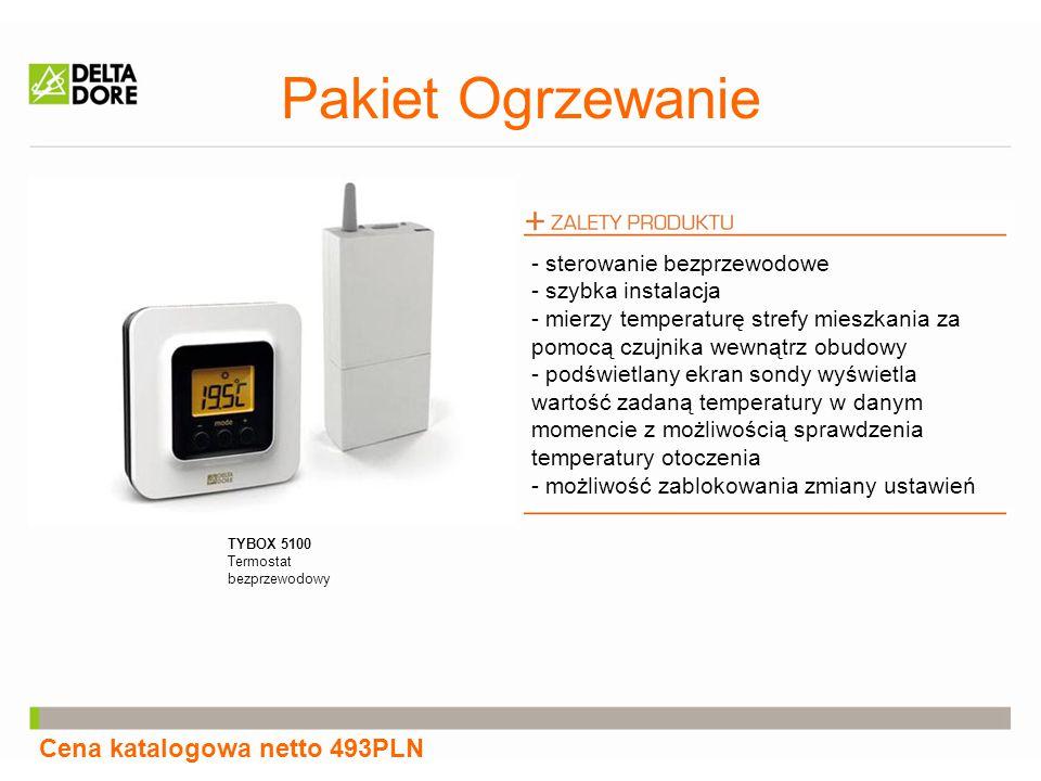 Pakiet Ogrzewanie Cena katalogowa netto 493PLN TYBOX 5100 Termostat bezprzewodowy - sterowanie bezprzewodowe - szybka instalacja - mierzy temperaturę strefy mieszkania za pomocą czujnika wewnątrz obudowy - podświetlany ekran sondy wyświetla wartość zadaną temperatury w danym momencie z możliwością sprawdzenia temperatury otoczenia - możliwość zablokowania zmiany ustawień