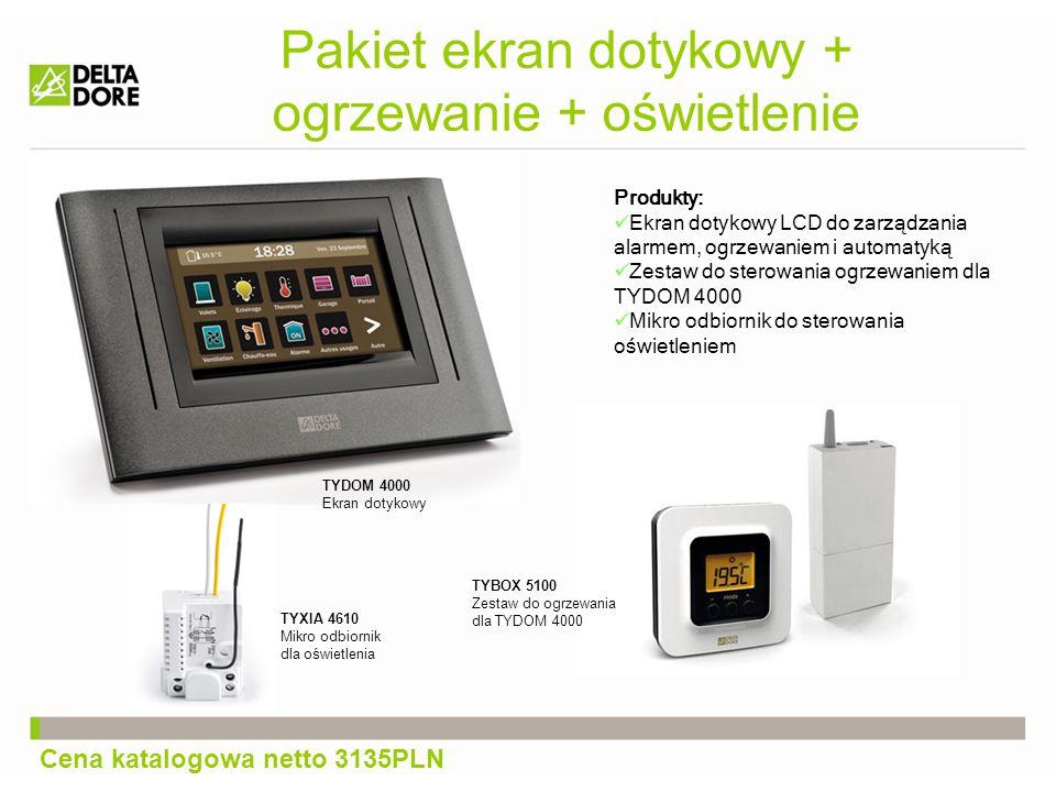Pakiet ekran dotykowy + ogrzewanie + oświetlenie Produkty: Ekran dotykowy LCD do zarządzania alarmem, ogrzewaniem i automatyką Zestaw do sterowania ogrzewaniem dla TYDOM 4000 Mikro odbiornik do sterowania oświetleniem TYDOM 4000 Ekran dotykowy TYBOX 5100 Zestaw do ogrzewania dla TYDOM 4000 TYXIA 4610 Mikro odbiornik dla oświetlenia Cena katalogowa netto 3135PLN