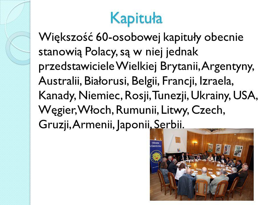 Kapituła Większość 60-osobowej kapituły obecnie stanowią Polacy, są w niej jednak przedstawiciele Wielkiej Brytanii, Argentyny, Australii, Białorusi, Belgii, Francji, Izraela, Kanady, Niemiec, Rosji, Tunezji, Ukrainy, USA, Węgier, Włoch, Rumunii, Litwy, Czech, Gruzji, Armenii, Japonii, Serbii.
