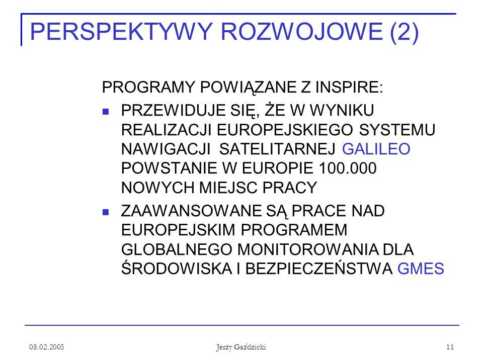 08.02.2005 Jerzy Gaździcki 11 PERSPEKTYWY ROZWOJOWE (2) PROGRAMY POWIĄZANE Z INSPIRE: PRZEWIDUJE SIĘ, ŻE W WYNIKU REALIZACJI EUROPEJSKIEGO SYSTEMU NAW