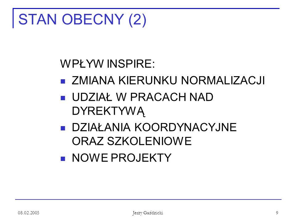 08.02.2005 Jerzy Gaździcki 9 STAN OBECNY (2) WPŁYW INSPIRE: ZMIANA KIERUNKU NORMALIZACJI UDZIAŁ W PRACACH NAD DYREKTYWĄ DZIAŁANIA KOORDYNACYJNE ORAZ SZKOLENIOWE NOWE PROJEKTY