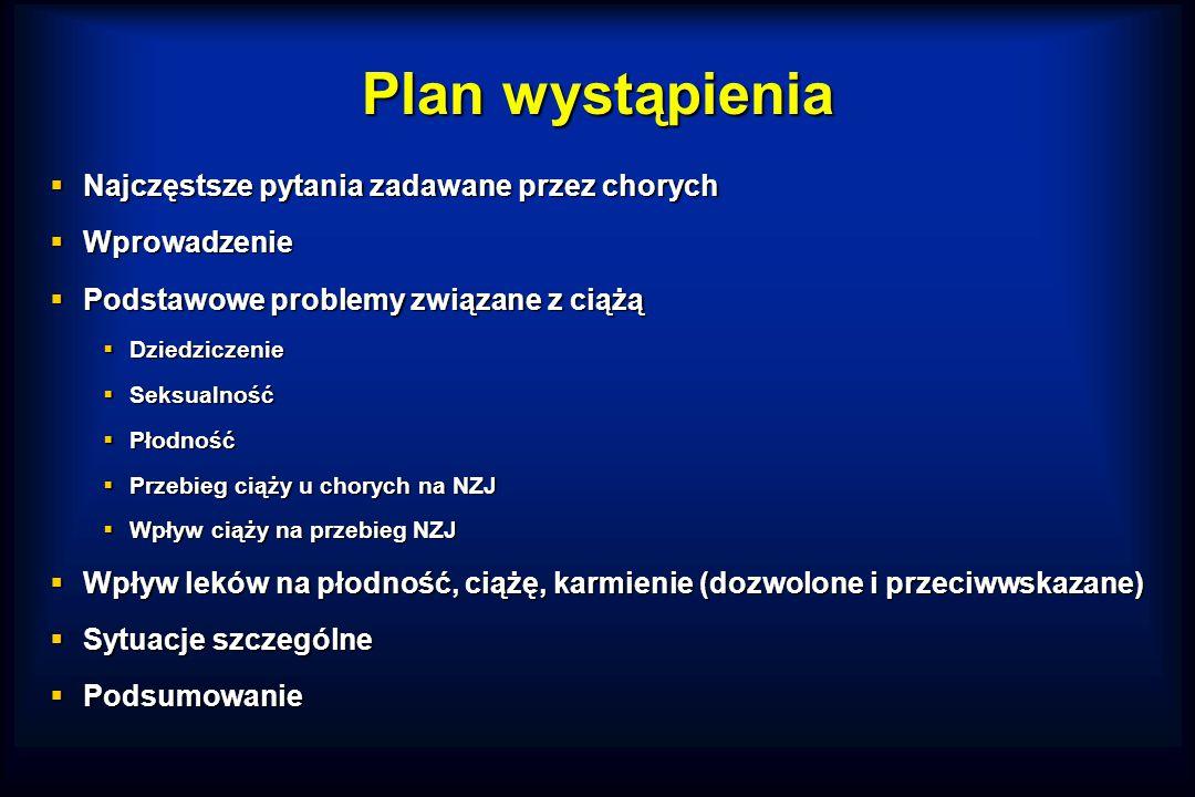Plan wystąpienia  Najczęstsze pytania zadawane przez chorych  Wprowadzenie  Podstawowe problemy związane z ciążą  Dziedziczenie  Seksualność  Płodność  Przebieg ciąży u chorych na NZJ  Wpływ ciąży na przebieg NZJ  Wpływ leków na płodność, ciążę, karmienie (dozwolone i przeciwwskazane)  Sytuacje szczególne  Podsumowanie
