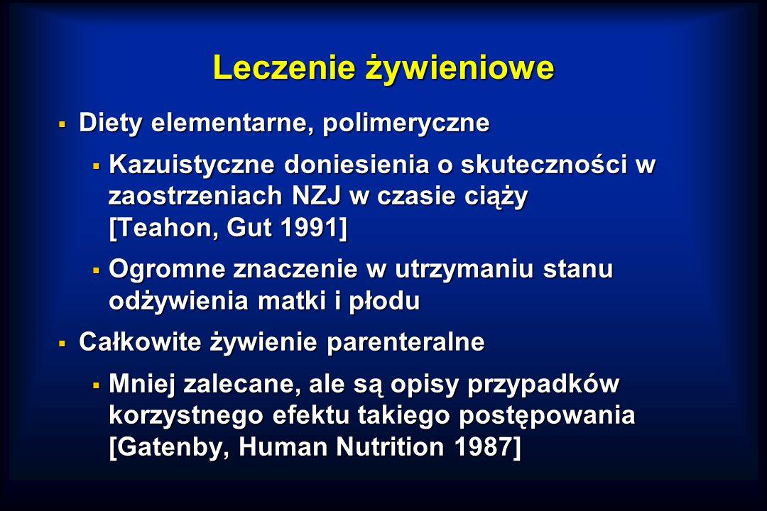 Leczenie żywieniowe  Diety elementarne, polimeryczne  Kazuistyczne doniesienia o skuteczności w zaostrzeniach NZJ w czasie ciąży [Teahon, Gut 1991]  Ogromne znaczenie w utrzymaniu stanu odżywienia matki i płodu  Całkowite żywienie parenteralne  Mniej zalecane, ale są opisy przypadków korzystnego efektu takiego postępowania [Gatenby, Human Nutrition 1987]