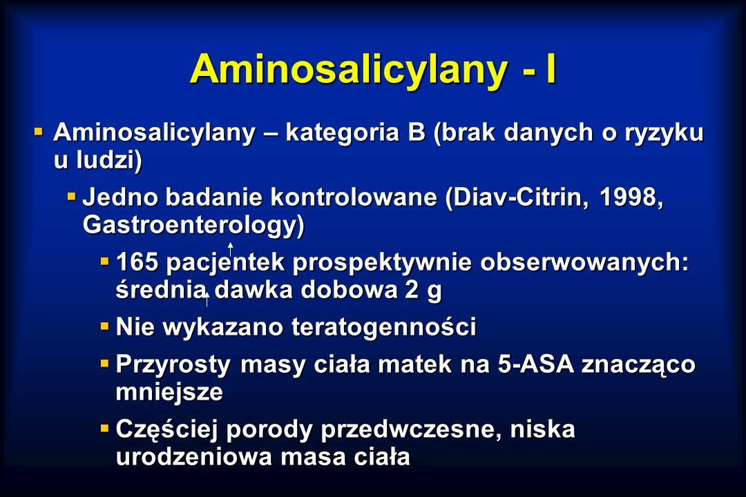 Aminosalicylany - I  Aminosalicylany – kategoria B (brak danych o ryzyku u ludzi)  Jedno badanie kontrolowane (Diav-Citrin, 1998, Gastroenterology)  165 pacjentek prospektywnie obserwowanych: średnia dawka dobowa 2 g  Nie wykazano teratogenności  Przyrosty masy ciała matek na 5-ASA znacząco mniejsze  Częściej porody przedwczesne, niska urodzeniowa masa ciała