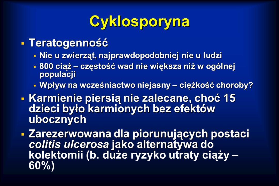 Cyklosporyna  Teratogenność  Nie u zwierząt, najprawdopodobniej nie u ludzi  800 ciąż – częstość wad nie większa niż w ogólnej populacji  Wpływ na wcześniactwo niejasny – ciężkość choroby.