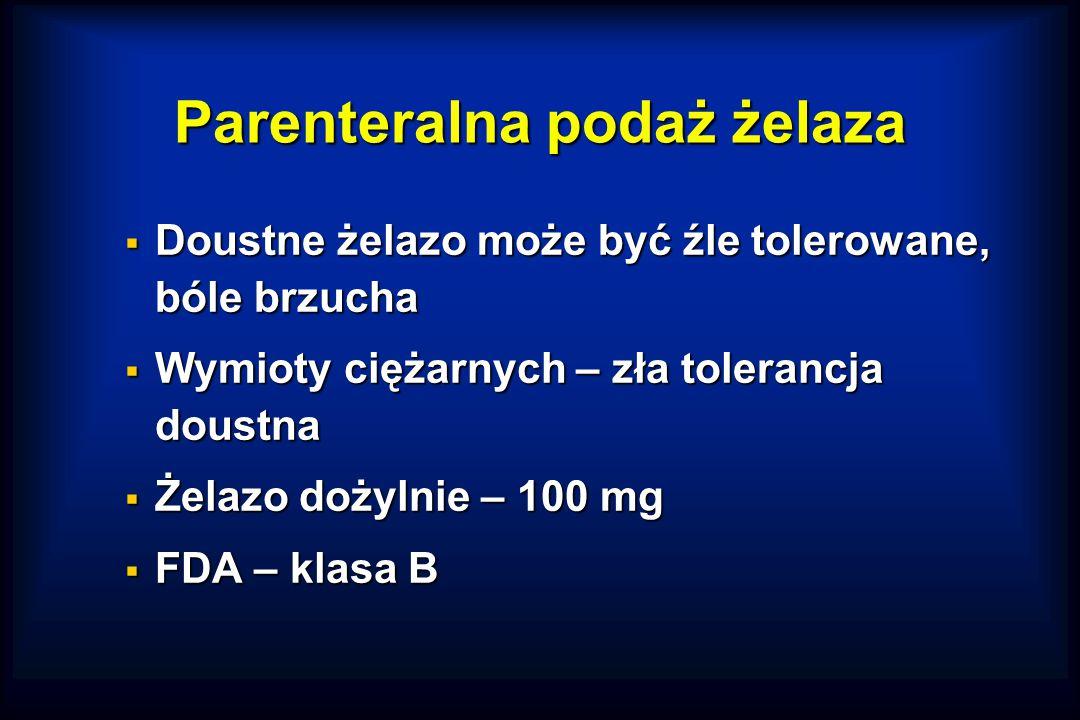 Parenteralna podaż żelaza  Doustne żelazo może być źle tolerowane, bóle brzucha  Wymioty ciężarnych – zła tolerancja doustna  Żelazo dożylnie – 100 mg  FDA – klasa B