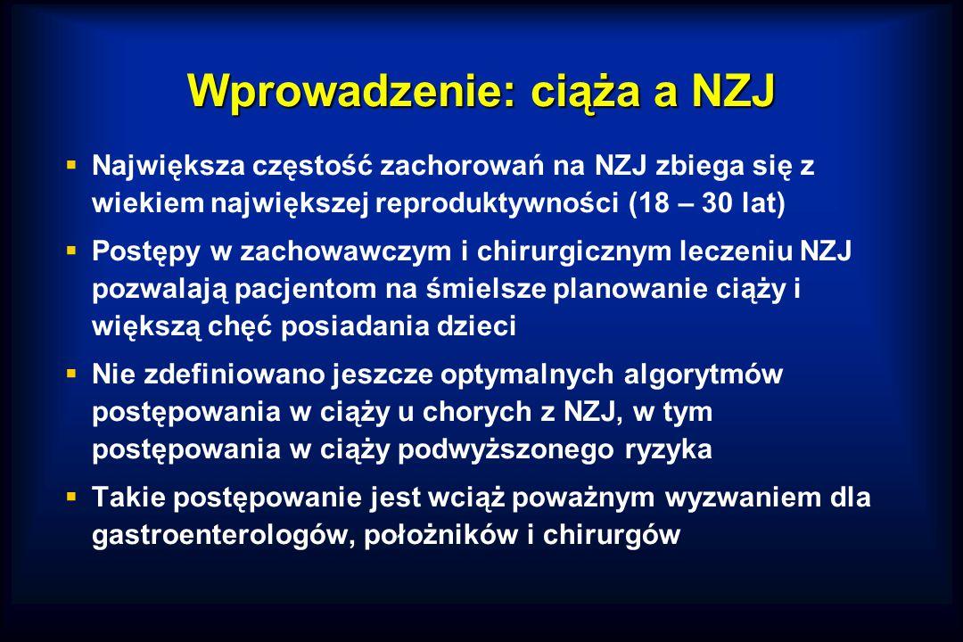 Wprowadzenie: ciąża a NZJ  Największa częstość zachorowań na NZJ zbiega się z wiekiem największej reproduktywności (18 – 30 lat)  Postępy w zachowawczym i chirurgicznym leczeniu NZJ pozwalają pacjentom na śmielsze planowanie ciąży i większą chęć posiadania dzieci  Nie zdefiniowano jeszcze optymalnych algorytmów postępowania w ciąży u chorych z NZJ, w tym postępowania w ciąży podwyższonego ryzyka  Takie postępowanie jest wciąż poważnym wyzwaniem dla gastroenterologów, położników i chirurgów