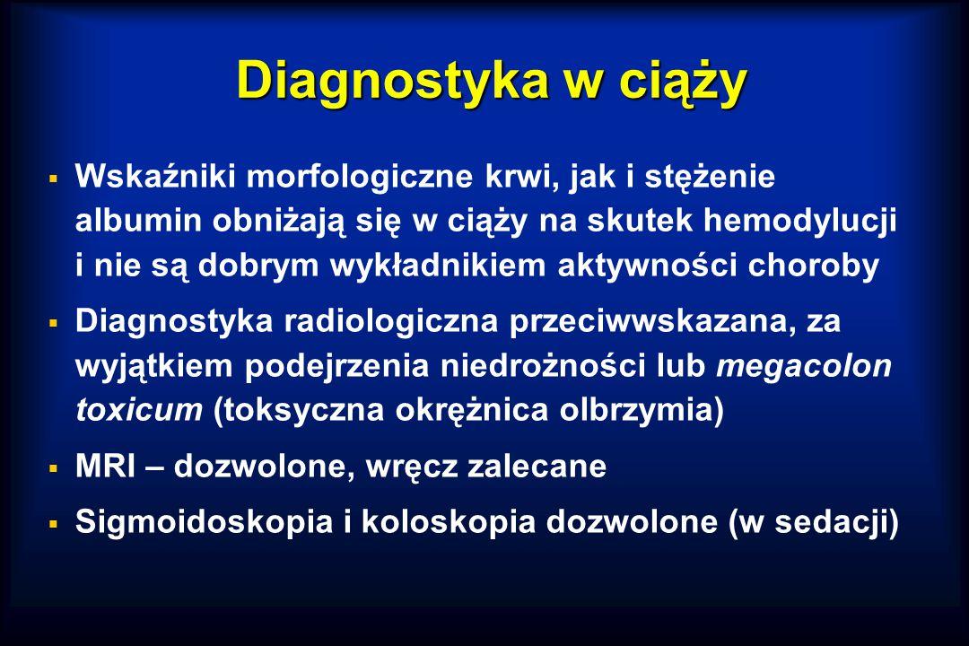 Diagnostyka w ciąży  Wskaźniki morfologiczne krwi, jak i stężenie albumin obniżają się w ciąży na skutek hemodylucji i nie są dobrym wykładnikiem aktywności choroby  Diagnostyka radiologiczna przeciwwskazana, za wyjątkiem podejrzenia niedrożności lub megacolon toxicum (toksyczna okrężnica olbrzymia)  MRI – dozwolone, wręcz zalecane  Sigmoidoskopia i koloskopia dozwolone (w sedacji)