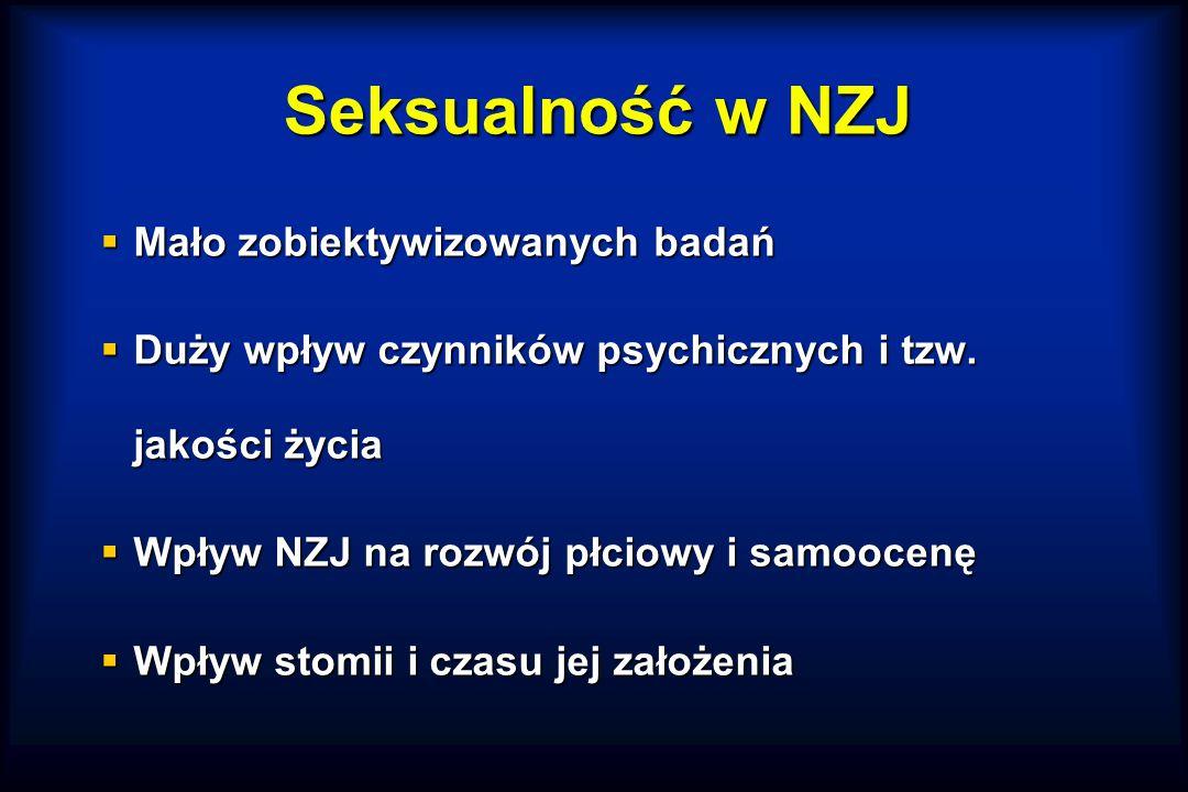 Seksualność w NZJ  Mało zobiektywizowanych badań  Duży wpływ czynników psychicznych i tzw.
