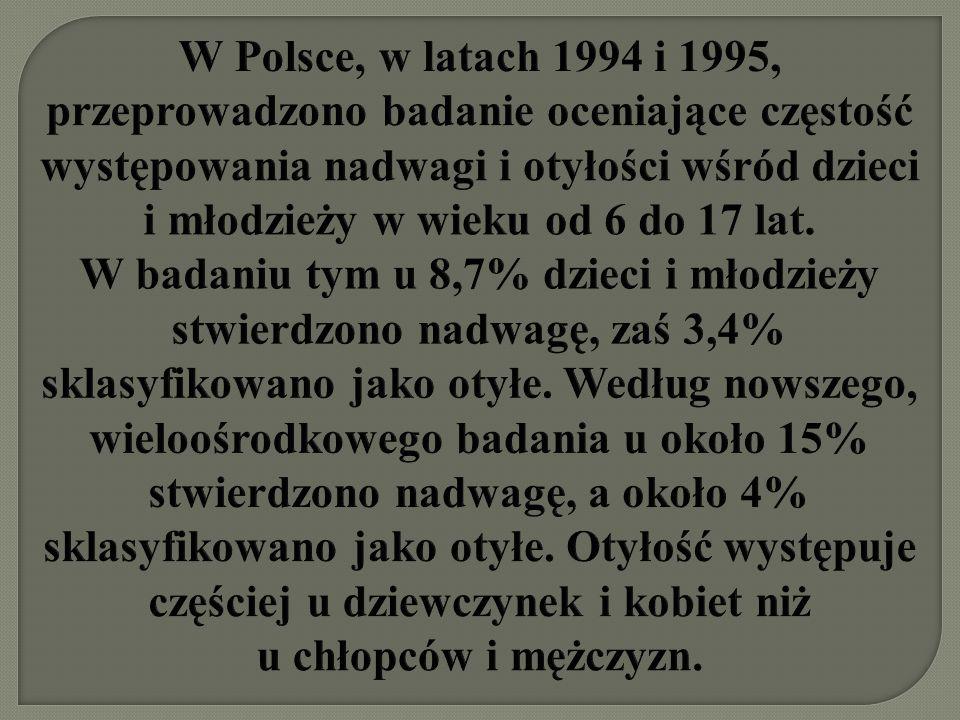 W Polsce, w latach 1994 i 1995, przeprowadzono badanie oceniające częstość występowania nadwagi i otyłości wśród dzieci i młodzieży w wieku od 6 do 17