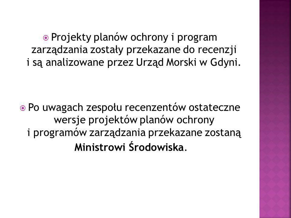  Projekty planów ochrony i program zarządzania zostały przekazane do recenzji i są analizowane przez Urząd Morski w Gdyni.  Po uwagach zespołu recen