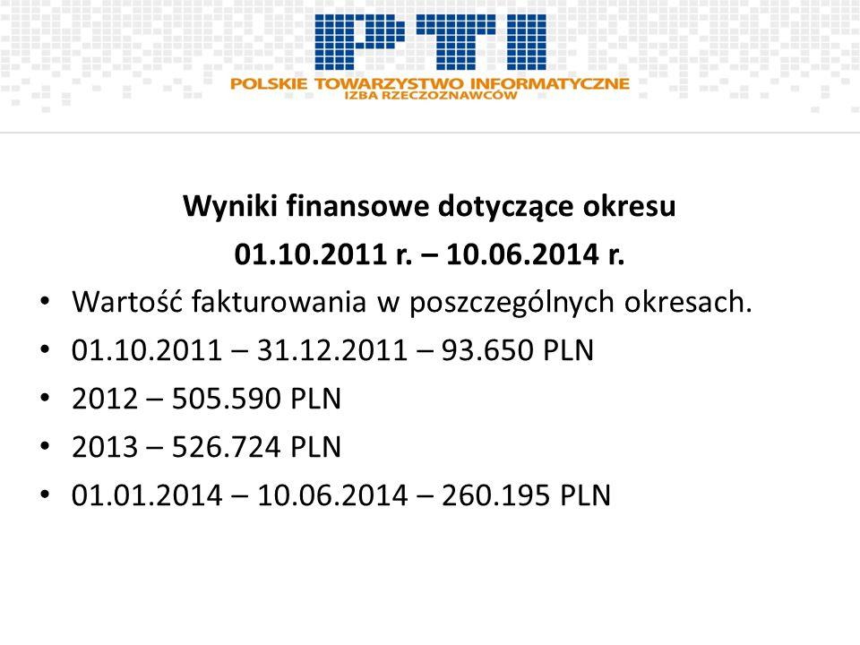 Wyniki finansowe dotyczące okresu 01.10.2011 r. – 10.06.2014 r. Wartość fakturowania w poszczególnych okresach. 01.10.2011 – 31.12.2011 – 93.650 PLN 2