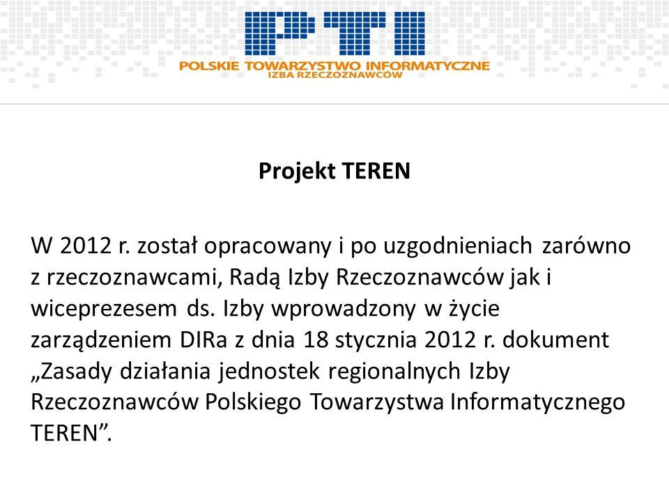 Projekt TEREN W 2012 r. został opracowany i po uzgodnieniach zarówno z rzeczoznawcami, Radą Izby Rzeczoznawców jak i wiceprezesem ds. Izby wprowadzony
