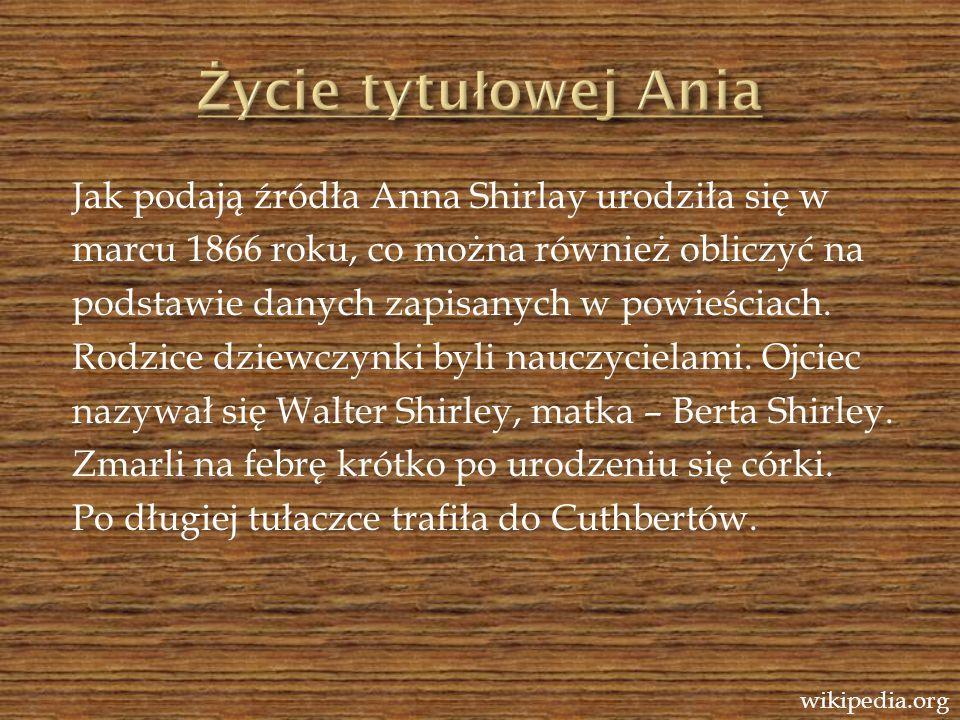 Jak podają źródła Anna Shirlay urodziła się w marcu 1866 roku, co można również obliczyć na podstawie danych zapisanych w powieściach. Rodzice dziewcz