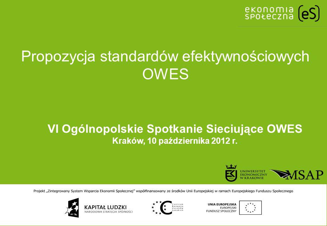 Propozycja standardów efektywnościowych OWES VI Ogólnopolskie Spotkanie Sieciujące OWES Kraków, 10 października 2012 r.
