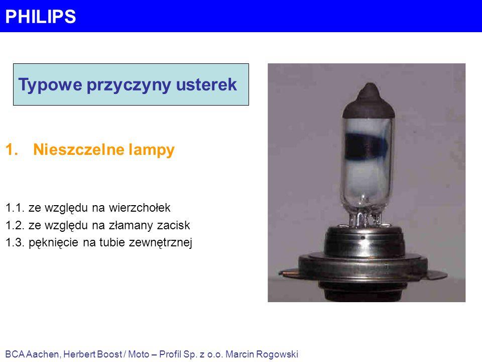 PHILIPS 1.Nieszczelne lampy 1.1. ze względu na wierzchołek 1.2. ze względu na złamany zacisk 1.3. pęknięcie na tubie zewnętrznej BCA Aachen, Herbert B